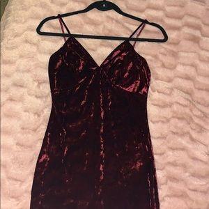 Crushed velvet burgundy dress